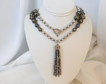 Tassel Necklace - Jewelry Set - Pearl Necklace - Grey Necklace