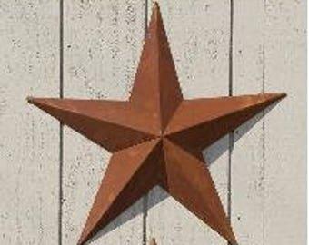 """3""""-10"""" Rusty Metal Tin Barn Star"""