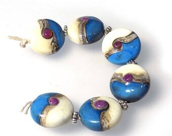 Blue Swirls Glass Lampwork Bead Set SRA SRAJD