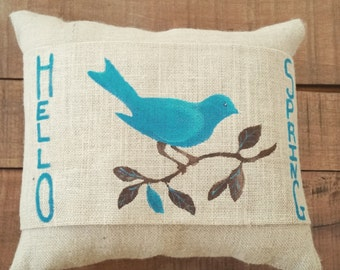 Hello Spring Bird on a Branch Pillow Wrap in Turquoise
