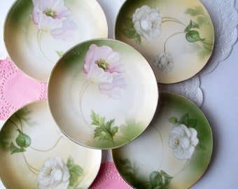 Vintage Dessert Plates Floral German Set of Five - Weddings Bridal