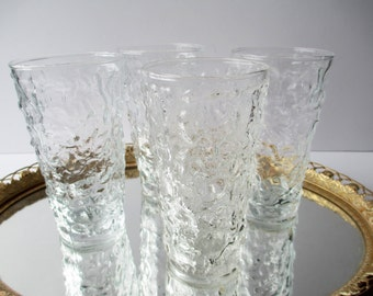 Vintage Anchor Hocking Lido Tumblers Clear Glass Set of Four - Retro Bar