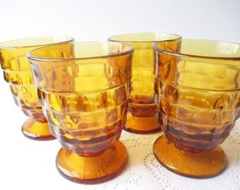 Vintage Colony Whitehall Amber Footed Tumblers Set of Four