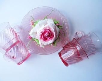 Pink Vintage Cups & Saucers Set of Four