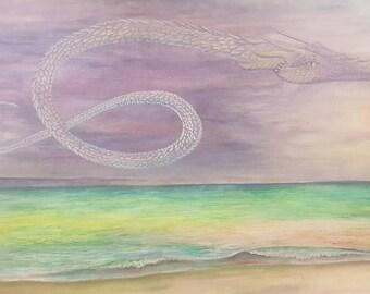 Dragon over the Mediterranean Sea by Beth Seilonen 12 by 18 Original Watercolor Painting