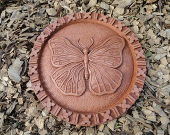 Concrete Butterfly Stepping Stone (Terracotta) Garden Sculpture