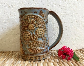 Ceramic Sugar Skull Coffee Cup - Large Ceramic Candy Skull Mug - Day of the Dead Cup - Dia De Los Muertos Mug - Stoneware Pottery Skull Mug