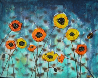 Storm Poppies, Yellow and Orange Poppies, Original Oil Painting, rain, mixed medium, 11 x 14