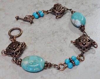 Antique Copper Turquoise Magnesite Bead Bracelet, Beaded Link Bracelet, Copper Bracelet, Boho, Turquoise Bead Bracelet, Copper Filigree