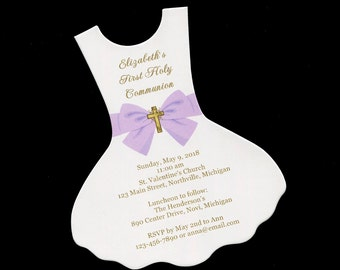 First Communion Invitations - First Holy Communion - Girls - Communion Dress - Personalized - Shaped Invitation - Purple and Gold