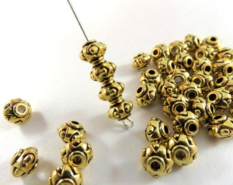 25 Antique Gold Barrel Spacers Tibetan Style Lantern Beads Large 2mm Hole LF/NF 7x5mm - 25 pc - M7075-AG25