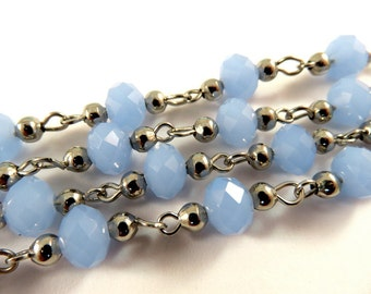 3ft Blue Beaded Chain Platinum Tone Translucent Faceted Glass Rondelle Cornflower Beaded Rosary 8x5mm - 39.3 inch - STR9097CH-PL39