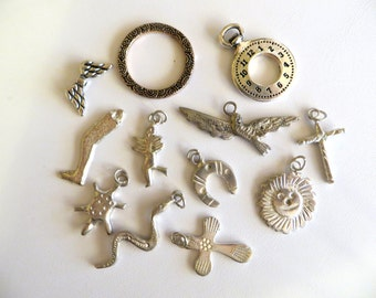 Pewter and Milagros Charm Assortment, 12 Pieces
