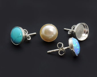 10pcs Round Bezel Cups Post Earring 925 Sterling Silver, Choose your Size (6100SHV)