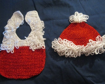 Simply Precious Santa Hat and Bib Set for Babies Size 0 to 3 Month Infant Newborn Gift Present Stocking Stuffer