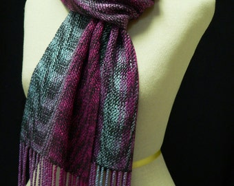 Handwoven and Hand Dyed Rayon Boucle Scarf