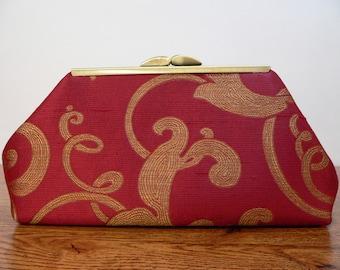 Modern Clutch Small Red Silk