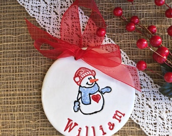 Personalized Primitive Snowman Christmas Ornament -  Personalized Ceramic Ornament - 2016 Ornament - Xmas Ornament - Holiday Ornament