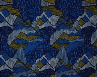 organic fabric, mountain fabric, cloud 9 lore, lore olympus navy, adventure fabric, navy mountains, organic quilt fabric, fabric by the yard