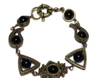HAPPY HOLIDAYS SALE - Neo Victorian Jewelry - Bracelet - Brass Tone with Black Onyx