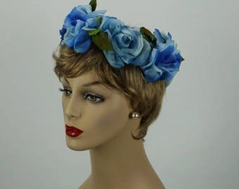 Vintage 1960s Hat Shades of Blue Silk Floral Wreath Style