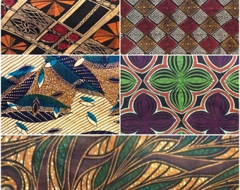 Set of Five Vintage African Fabric (2yards each)