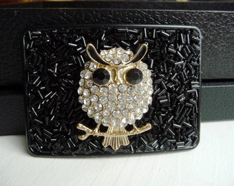 Black Owl Belt Buckle - Sparkly Clear Rhinestones- Shiny Glass Beads- Women's Custom Belt Buckle- Casual Cute Style - Wise Gift Idea for Her