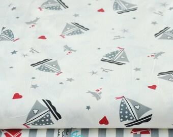 4366 - Sailing Boat & Stripe Cotton Fabric - 62 Inch (Width) x 1/2 Yard (Length)