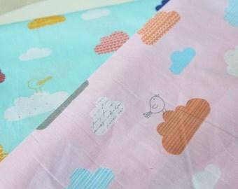 4368 - Bird & Cloud Cotton Fabric - 62 Inch (Width) x 1/2 Yard (Length)