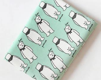 4609 - Cute Bear Cotton Linen Blend Fabric - 59 Inch (Width) x 1/2 Yard (Length)