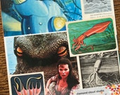 Kraken the Giant Sea Monster Vintage Octopus and Squid Collage, Scrapbook and Planner Kit Number 2356