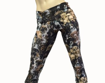 Yoga Pants - Workout Clothes - Hot Yoga Capri - Dog Pants - Puppy Pants - High Waist - Fold Over - Capri - SXY Fitness - Handmade - USA -