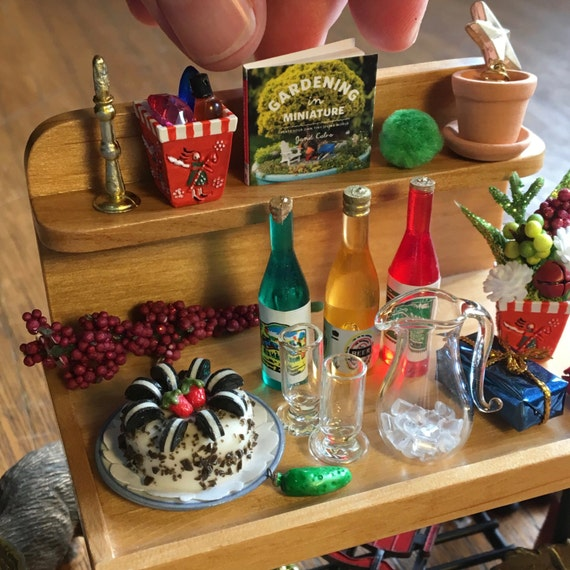 Christmas Miniature Garden PARTY on the Potting Bench for Miniature or Fairy Gardeners. Gifts, Decor, Drinks, Cake, More, OOAK, Over 32pcs.