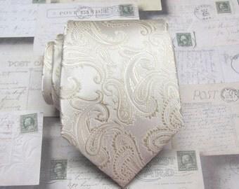 Mens Ties Beige Tan Paisley Mens Silk Necktie Wedding ties. With Matching Pocket Square Option