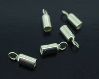Sterling silver Findings - Tube End,Jewelry Making Findings-Ideal for 3mm leather cord -SKU-213007