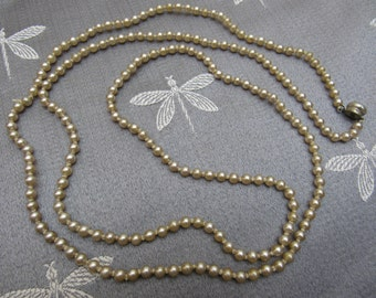 Vintage Gorgeous CHAMPAGNE Colored Quality FAUX PEARL Necklace Matinee Length Double Knotted Wedding Bridal Mother of the Bride