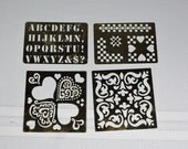 Vintage Brass Stencils- Scroll, Hearts, Hearts and Squares, Alphabet