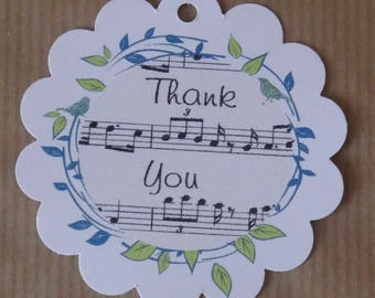 "24 x thank you circle scalloped tags music notes,birds floral,2.1/4"", hang tags,gifts,wedding,favors,party"