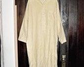 Vintage 60s Beige White Check Flannel Mens Night Shirt M Knee Length Diplomat