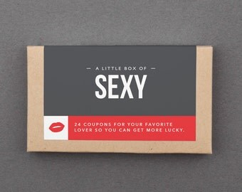 "Anniversary Gift for Husband, Wife, Man, Woman, Him, Her. Love, Sex Coupons. Funny, Naughty, Romantic. Mini Cards. ""Sexy"" (L2L01)"
