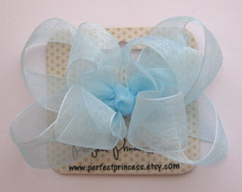 Medium Double Layer Loopy Style Organza Hair Bow in Light Blue