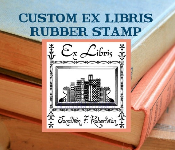Custom Ex Libris Bookplate Rubber Stamp -  Vintage Bookshelf - Handmade by Blossom Stamps