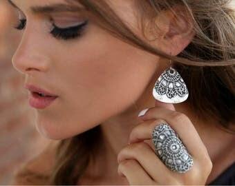 Boho Earrings, Hippie Earrings, Bohemian Earrings, Statement Earrings, Dangle Earrings, Silver Boho Earrings, Boho Silver Earrings Boho Chic