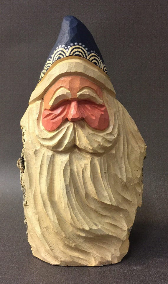 HAND CARVED original wind blown Santa bust from 100 year old Cottonwood Bark.