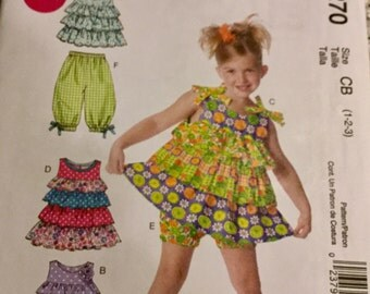 McCalls 6270 Girls Summer Dress Pattern Ruffled Top and Long and Short  Bloomers size 1-3 Uncut