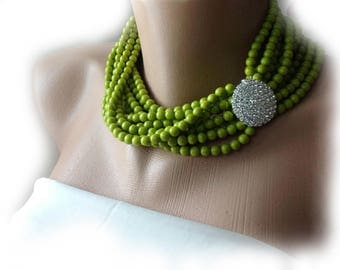 Lime Green Statement Pearl Necklace,Multi Strands Wedding Pearl Necklace ,Rhinestone Brooch