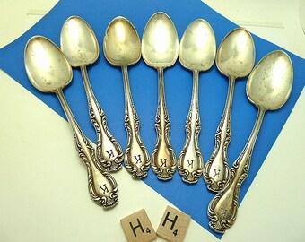 Seven Antique 1835 R. Wallace Monogrammed 'K' Dessert/ Soup Spoons  WM111