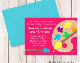 Art Party Invitation, Art Party Printable Invitation, Painting Party Invitation, Custom Wording, JPEG File