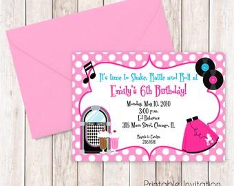 50s Party Printable Invitation, Fifties Girl Birthday Invitation, Printable Invitation, Custom Wording, JPEG