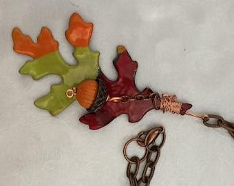 Copper Oak Leaf Pendant Necklace Torch Enameled